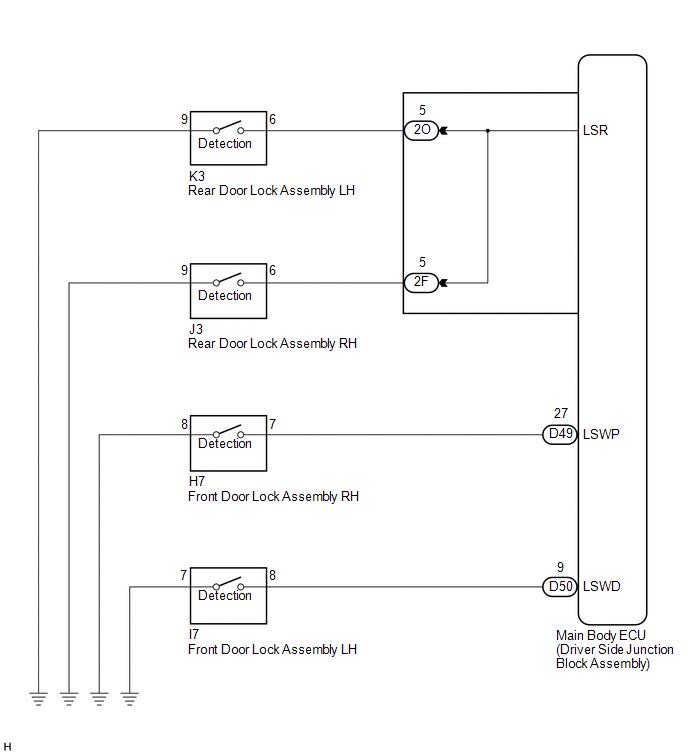 [TVPR_3874]  Toyota Venza: Door Unlock Detection Switch Circuit - Lighting System -  Service Manual | Venza Wiring Diagram |  | Toyota Venza