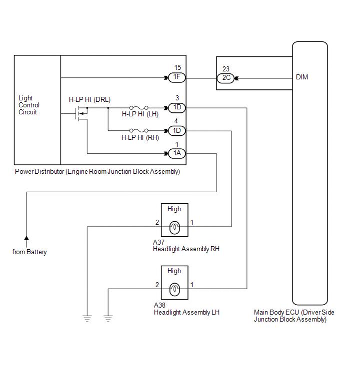 Toyota Venza: Headlight (HI-BEAM) Circuit - Lighting System - Service ManualToyota Venza